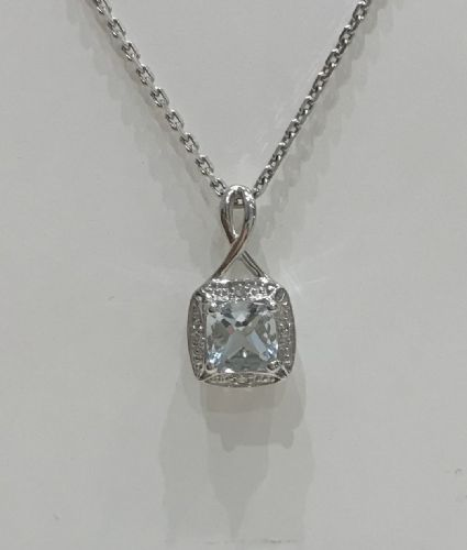 Aquamarine And Diamond Cluster White Gold Necklace